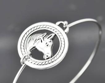 Horse Bangle, Sterling Silver Bangle, Horse Bracelet, Stackable Bangle, Charm, Bridesmaid Bangle, Bridesmaid jewelry, Bridal Bracelet