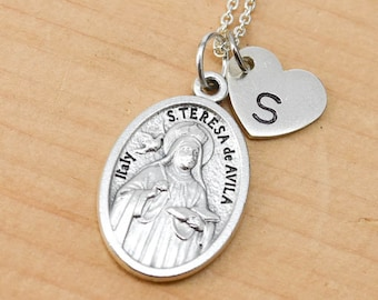 St Teresa of Ávila Necklace, Charm, Pendant, Initial Necklace, Personalized Necklace, Sterling Silver, Heart Charm Necklace, Bridesmaid Gift