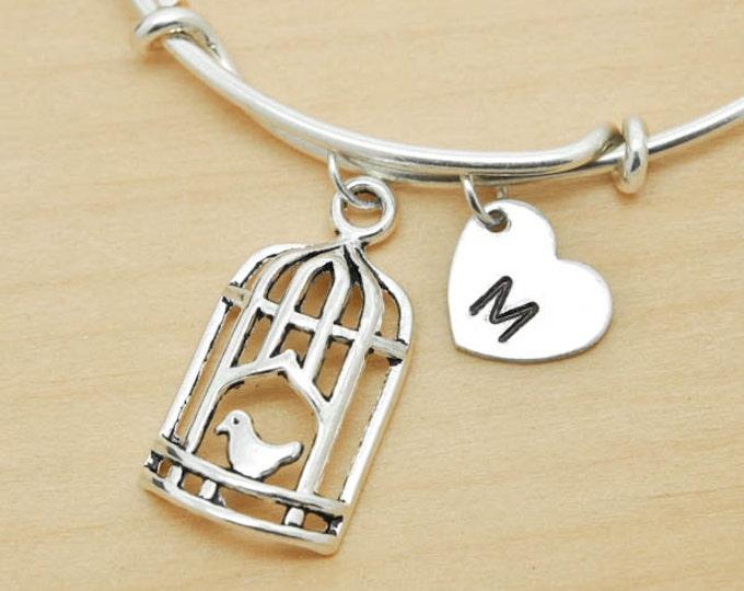 Bird cage Bangle, Sterling Silver Bangle, Bird cage Bracelet, Bridesmaid Gift, Personalized Bracelet, Charm Bangle, Initial Bracelet