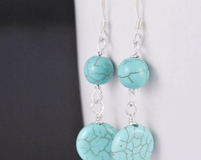 turquoise earrings, silver earrings, turquoise jewelry, sterling silver earrings, beaded earrings, december birthstone jewelry, gemstone