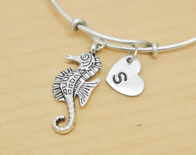 Seahorse Bangle, Sterling Silver Bangle, Seahorse Bracelet, Bridesmaid Gift, Personalized Bracelet, Charm Bangle, Initial Bracelet