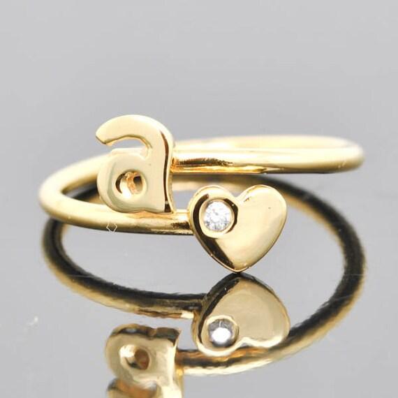 Anfängliche Ring Herz-Ring verstellbarer Ring