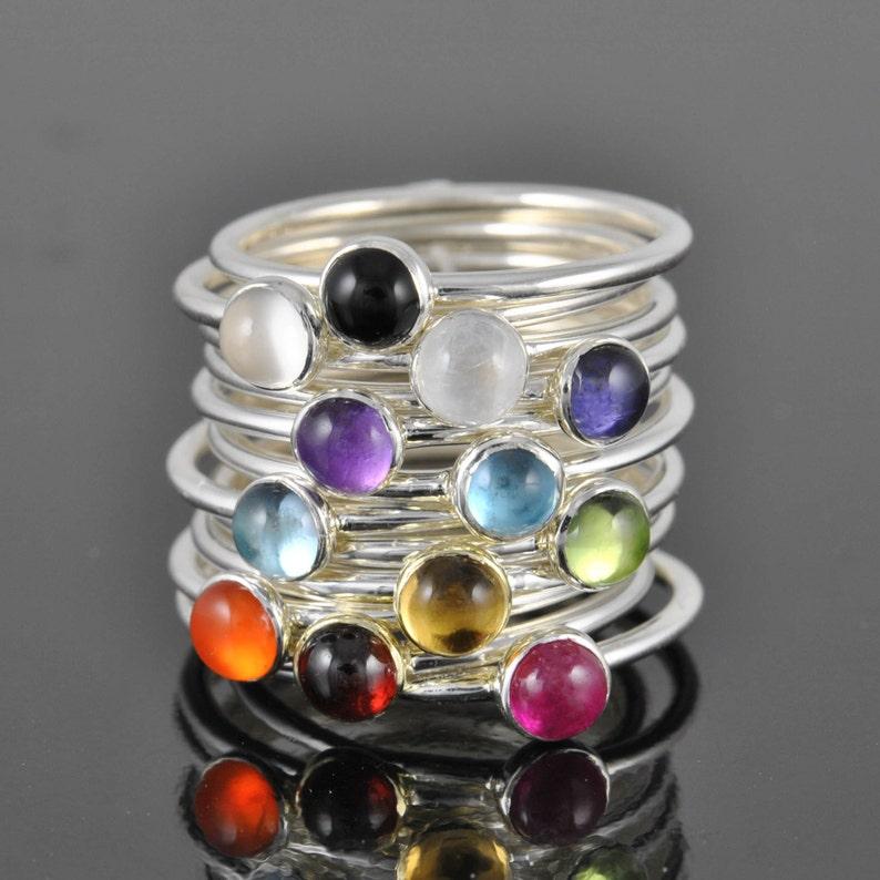 Birthstone ring gemstone personalized bridesmaid gift image 0