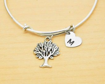 Tree of Life Bangle, Sterling Silver Bangle, Tree of Life Bracelet, Bridesmaid Gift, Personalized Bracelet, Charm Bangle, Initial Bracelet