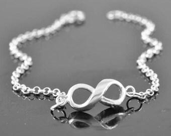 infinity bracelet, sterling silver bracelet, friendship bracelet, anniversary, bridal jewelry, infinity jewelry, Bridesmaid Gift