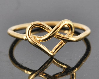 Infinity Ring, Personalized Gift, Bridesmaid Gift, Bridal Jewelry, Maid Of Honor, Wedding Gift, Stacking Ring, Best Friend Gift, Heart Ring