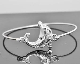 Dolphin Bangle, Sterling Silver Bangle, Dolphin Bracelet, Stackable Bangle, Charm, Bridesmaid Bangle, Bridesmaid jewelry, Bridal Bracelet