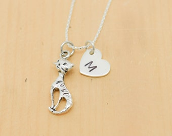 Cat Necklace, Cat Charm, Cat Pendant, Initial Necklace, Personalized Necklace, Sterling Silver Necklace, Charm Necklace, Bridesmaid Gift