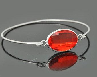 Birthstone Bangle, Sterling Silver Bangle, Birthstone Bracelet, Stackable Bangle, Charm Bangle, Bridesmaid Bangle, Bridesmaid jewelry