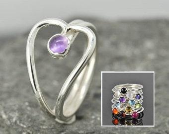 Heart Birthstone ring, heart ring, gemstone ring, sterling silver ring, bezel birthstone ring, mother daughter, sisters, Bridesmaid gift
