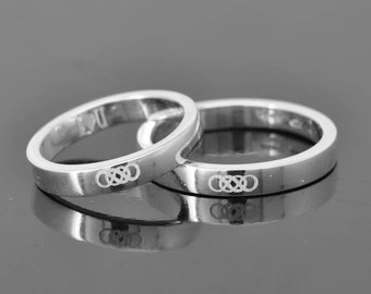 Double Infinity Ring, Infinity Ring for men, Sterling Silver Ring, Men Ring, Promise Ring, Engraving Ring, Wedding Band, Wedding Ring