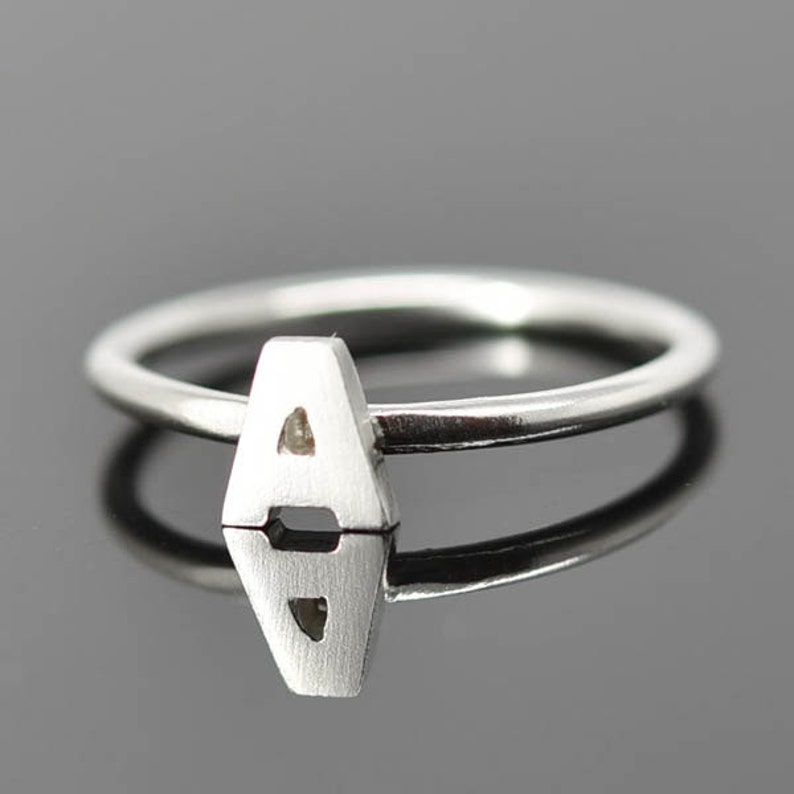 Initial Ring Sterling Silver Personalized Gift Bridesmaid image 0