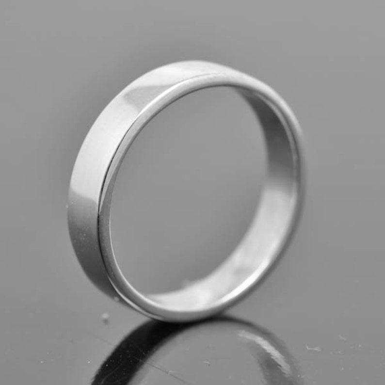 14K palladium white gold ring 5mm x 1.3mm flat wedding image 0