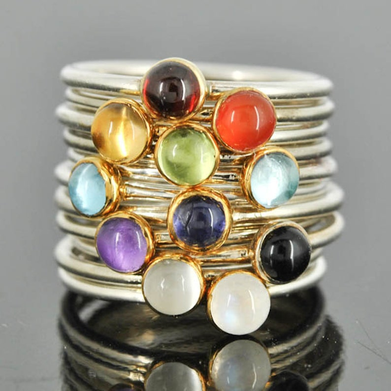 Stacking Ring Gold bezel Birthstone Ring Personalized Ring image 0
