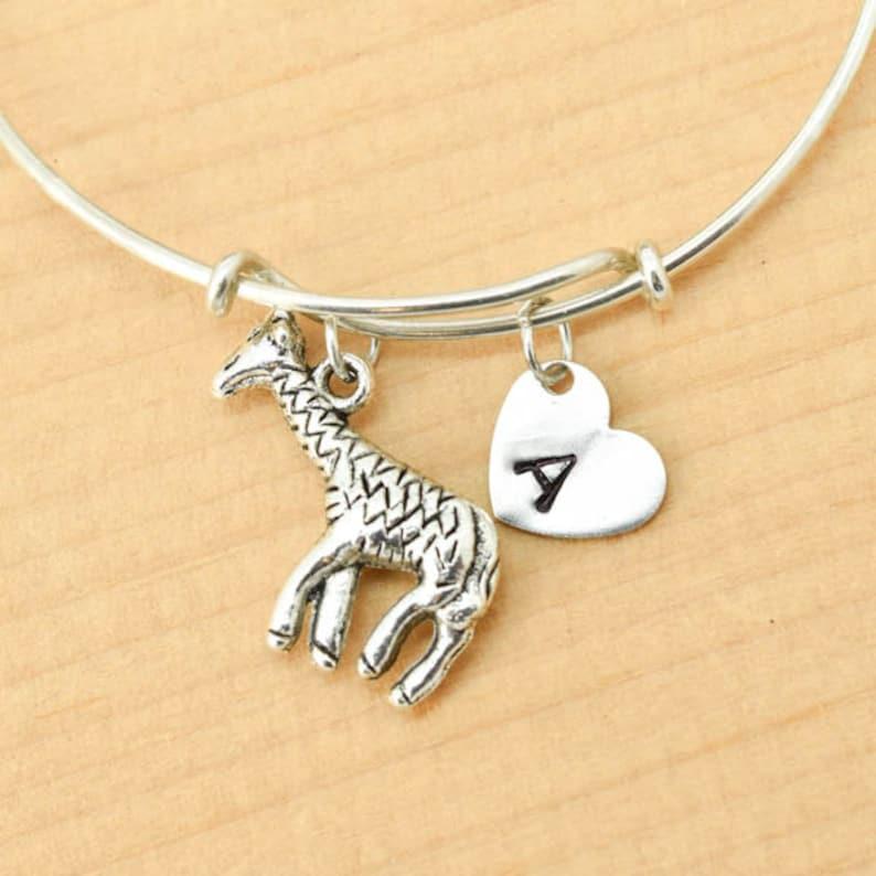 Personalized Giraffe Bracelet Giraffe Bangle Bracelet personalized jewellery animal gift for friend giraffe gift for her custom bracelet