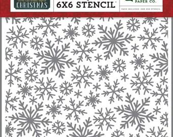 "Echo Park Stencil 6""X6"" - 'Twas The Night Before; Snowflake Magic"