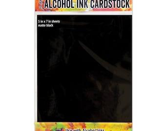 """Tim Holtz Alcohol Ink Cardstock 5""""X7"""" 10/Pkg - Matte Black"""