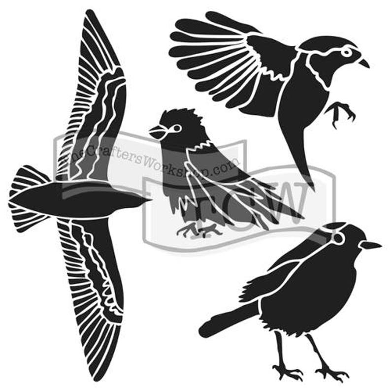Crafters/' Workshop 6 x 6 or 12 x 12 Bird Gathering TCW684