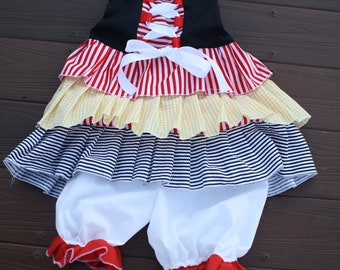 Ruffled pirate costume /dress with bloomers  for Halloween, birthday parties, dress up, pictures,pageant,photoprop