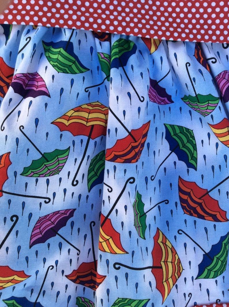 Girls rainy day umbrella  blue an red cotton skirt back to school