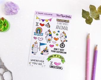 I heart Unicorns sticker sheet