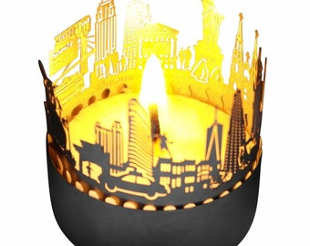 New York Candle Votive Skyline Shadow Play Souvenir Gift 3D Stainless Steel Attachment For Candles Inc Postcard