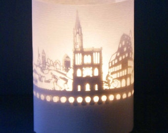 Neuss skyline souvenir candle votive in gift tube-box 3D attachment for candles incl projection screen and tea light