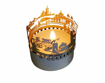 Marseilles candle votive skyline shadow play souvenir gift 3D stainless steel attachment for candles inc postcard