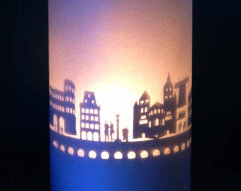 Trier skyline souvenir candle votive in gift tube-box 3D attachment for candles incl projection screen and tea light