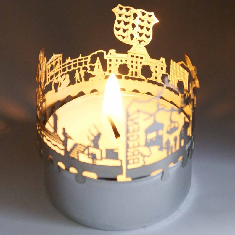 3D stainless steel attachment for candles inc postcard Bregenz candle votive skyline shadow play souvenir gift