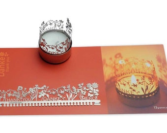 Thank you candle votive shadow play gift, 3D stainless steel attachment for candles incl postcard