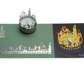 Hike candle votive shadow play gift, 3D stainless steel attachment for candles incl postcard