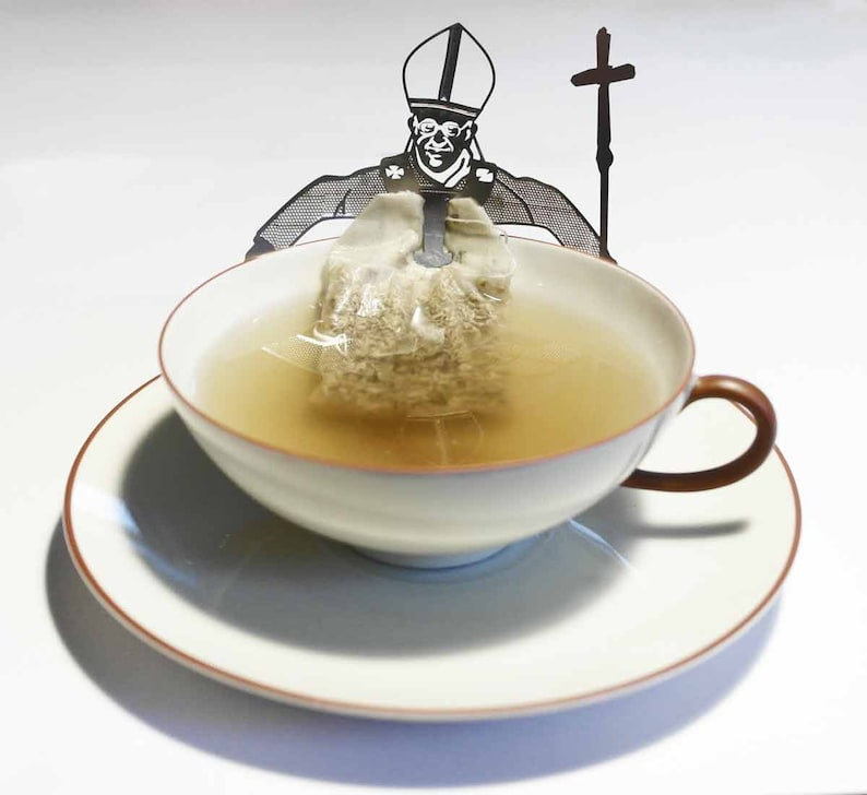 Chaplain tea bag holder gift 3D stainless steel figure to drink tea with