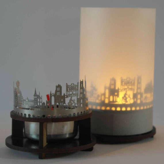 holder candle 3D attachment for candle inc projection screen Krefeld skyline candle votive premium gift box
