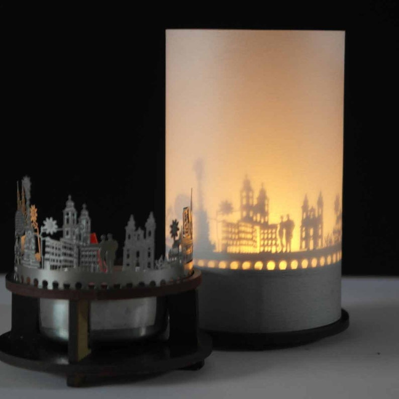 3D attachment for candle inc projection screen holder Linz skyline candle votive premium gift box candle