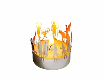 crib candle votive shadow play souvenir gift, 3D stainless steel attachment for candles incl postcard