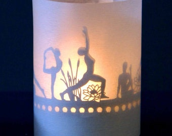 Yoga candle votive shadow play in a gift tube-box, 3D attachment for candles incl projection screen and tea light