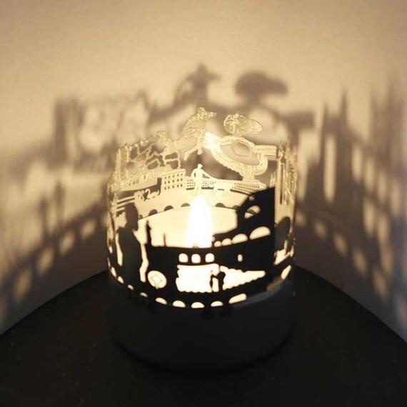 Bath 3D Edelstahl Aufsatz für Kerze inkl. Karte, Weihnachten, Geschenk, Advent, Silhouette, Schattenspiel, Windlicht