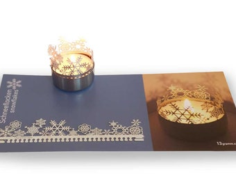 Snow Flakes candle votive shadow play gift, 3D stainless steel attachment for candles incl postcard