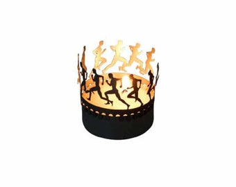 Running Trial candle votive shadow play gift, 3D stainless steel attachment for candles incl postcard