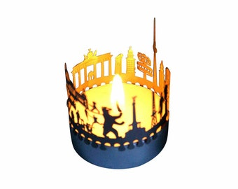 Berlin candle votive skyline shadow play souvenir gift, 3D stainless steel attachment for candles inc postcard