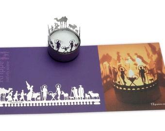 Krippe, Minikrippe Schattenspiel für Teelicht, Minigeschenk, Adventskalenderfüllung, Weihnachten