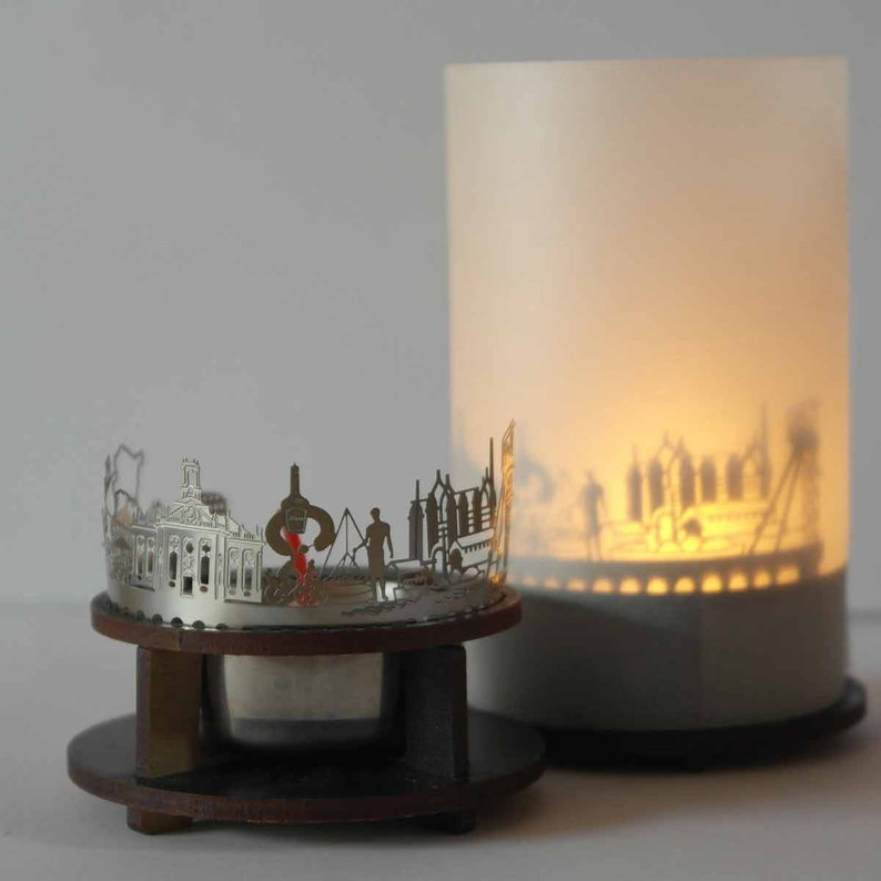 Saarbrucken skyline candle votive premium gift box 3D attachment for candle inc projection screen candle holder