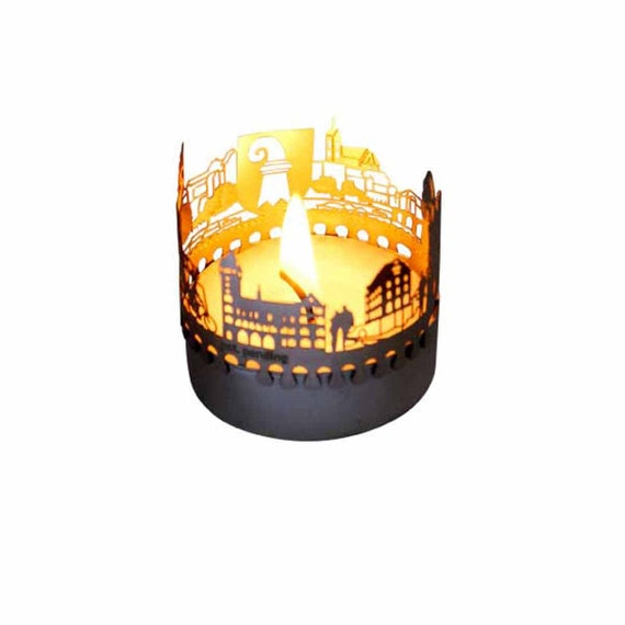 3D stainless steel attachment for candles inc postcard Buenos Aires candle votive skyline shadow play souvenir gift