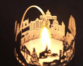 St. Louis candle votive skyline shadow play souvenir gift, 3D stainless steel attachment for candles inc postcard