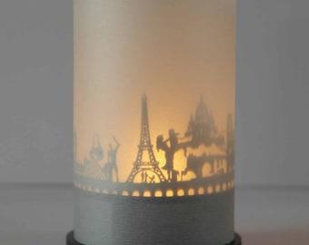 Paris skyline candle votive premium gift box, 3D attachment for candle inc projection screen, candle, holder