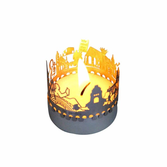 3D stainless steel attachment for candles inc postcard Leipzig candle votive skyline shadow play souvenir gift