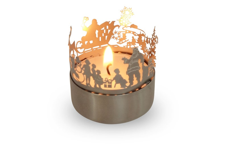 3D stainless steel attachment for candles incl postcard Santa Claus candle votive shadow play gift