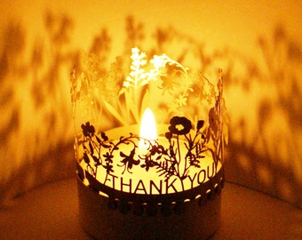 Thank you tea light, Danke, Merci, filigran highly detailed silhouette made of stainless steel (candle)