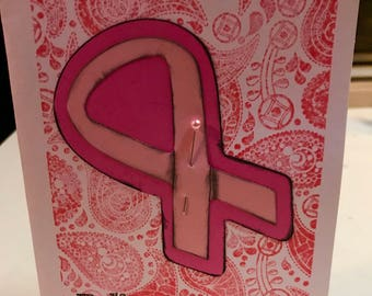 Believe in hope breast cancer awareness card Cricut stamped pink